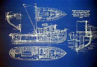 "Boat Plan Alaska Fishing Trawler 1933 Blueprint Drawing 20""x24"" (005)"