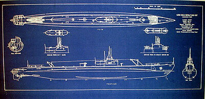WW2 USN Attack Submarine USS Seawolf SS-197 Blueprint Plan 11x24  (175)