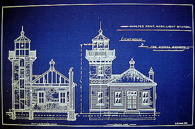 "LIGHTHOUSE Mukilteo Point  Washington Blueprint Plan 14"" x 21"" (227)"