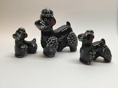 Black Poodle W/ Puppies Set Of 3 Redware Dog Vintage Japan Figures. B3