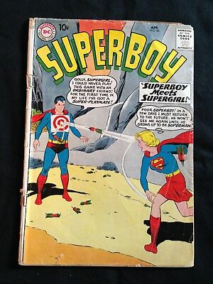 Superboy, #80, April 1960, 1st Superboy/Supergirl Mtg