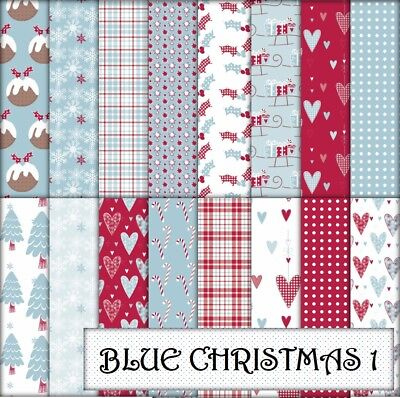 BLUE CHRISTMAS 1 SCRAPBOOK PAPER - 16 x A4 pages.