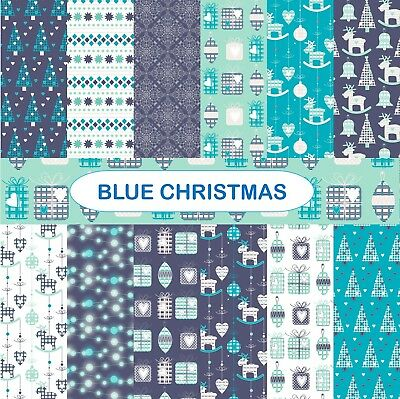 BLUE CHRISTMAS SCRAPBOOK PAPER - 12 x A4 pages
