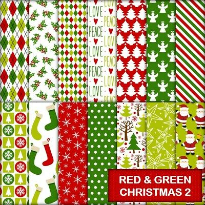 RED & GREEN CHRISTMAS 2 SCRAPBOOK PAPER - 14 x A4 pages.