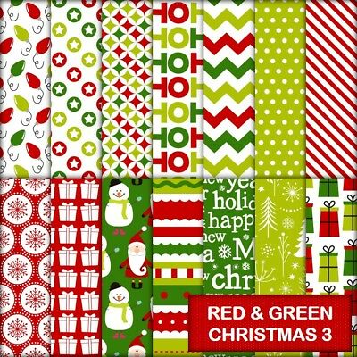 RED & GREEN CHRISTMAS 3 SCRAPBOOK PAPER - 14 x A4 pages.