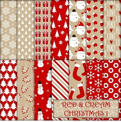 RED & CREAM CHRISTMAS 1 SCRAPBOOK PAPER - 14 x A4 pages.