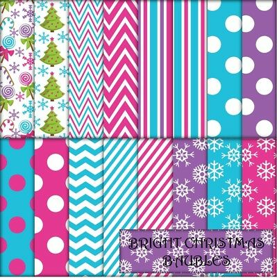 BRIGHT CHRISTMAS BAUBLES 2 SCRAPBOOK PAPER - 16 x A4 pages.