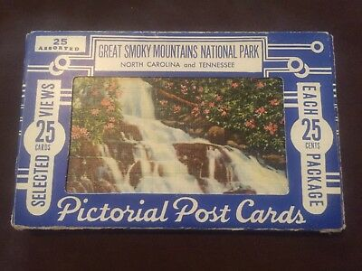 LOT OF 25 GREAT SMOKY MOUNTAINS TN  ANTIQUE POSTCARDS in original box-great cond