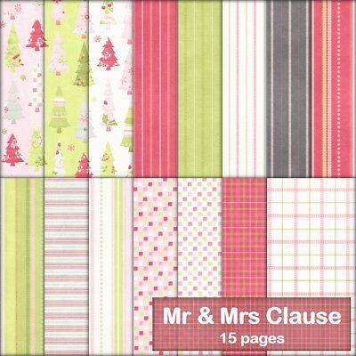MR & MRS CLAUSE CHRISTMAS SCRAPBOOK PAPER - 15 x A4 pages + 2 FREE CLIPART PAGES