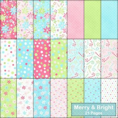 MERRY & BRIGHT CHRISTMAS SCRAPBOOK PAPER - 21 x A4 pages + 2 FREE CLIPART PAGES.