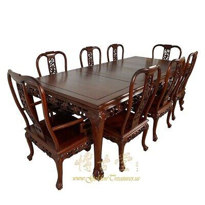 Vintage Chinese Carved Rosewood Dining Table with 8 Chairs set