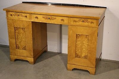 Original antique blonde Scandianvian Art Deco pedestal desk satin tiger birch