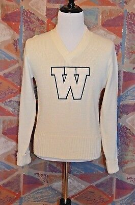 """BRISTOL PRODUCTS Official Award Sweater """" W """" Letter Sweater V-Neck White Sz 40"""