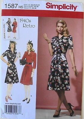 Simplicity 1587 Misses / Miss Petite 1940's Retro Dresses Sewing Pattern Sz 6-14