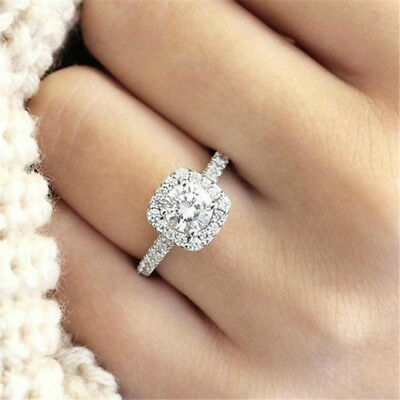 Halo Cushion Cut 18K White Gold White Sapphire Engagement Ring Jewelry Size 5-11