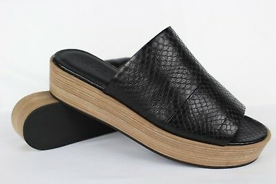 00a15564595 Vince Women s Saskia 2 Flatform Snake Slide Sandals Size 9.5 EU 41 Black  Leather