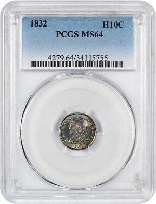 1832 H10c PCGS MS64 - Early Half Dimes - Pretty Obverse Toning
