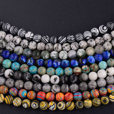 Natural Stone Sea Sediment Gemstone Round Loose Beads DIY Bracelets 4mm 6mm 8mm