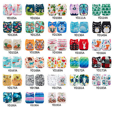 ALVABABY Cloth Diapers One Size Reusable Pocket Nappy+ 1 4-layer Bamboo Insert