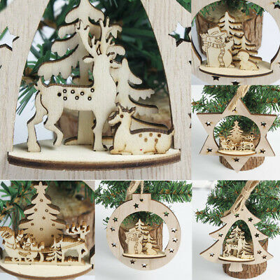 Christmas Tree Hanging Pendant Wooden Carving Decoration Accessories Home Decor