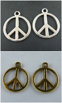 Free Ship 150Pcs Ancient Gold Peace sign Charms 17x14mm