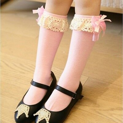 Cute Girl Kids Knee High Cotton School Socks Bow Frilly Lace Bow Stocking UK
