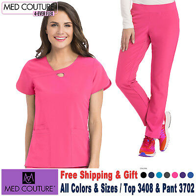 Med Kontur Scrubs Satz 4 Ever Flex Uniform Halsausschnitt Top &