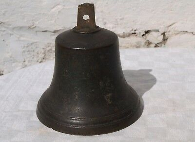 LARGE OLD BRONZE SHIPS BELL WITH CLAPPER - BOTH STAMPED No.10