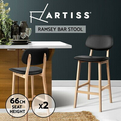 Artiss 2x Ramsey Bar Stools Wooden Bar Stool Dining Chair Kitchen Counter Black