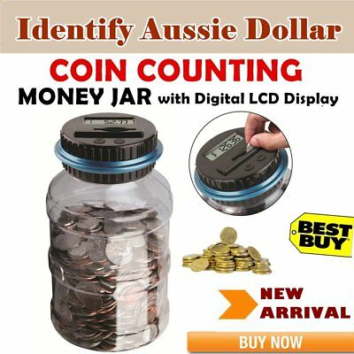 Digital LCD Money Box Bank Large Coin Counting Jar Change Counter Saving Box CZ