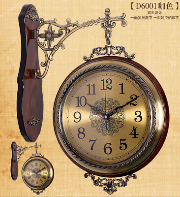 Big Size Antique Wall Clock Outdoor Station Double Sided Décor Wall Mount Clock