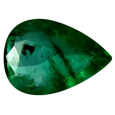 0.32 ct Pear (6 x 4 mm) Unheated Green Colombian Emerald Natural Loose Gemstone