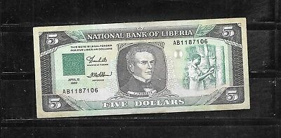 Liberia #19 1989 5 Dollars Vg Circ  Banknote Paper Money Currency Bill Note