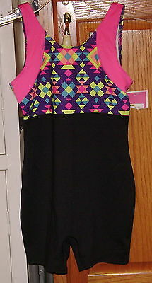 Circo Gymnastics Dance Shortall Unitard  Black & Colorful Bowback Sz Small 6-6X
