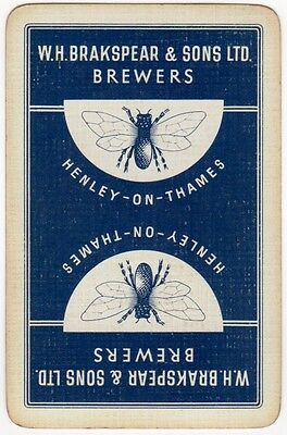 Playing Cards 1 Swap Card Old Vintage W.H. BRAKSPEAR Brewers Brewery Henley BEE