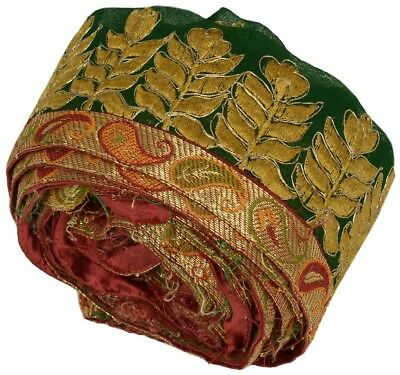 Vintage Sari Border Indian Craft Trim Antique Embroidered Ribbon Lace Green