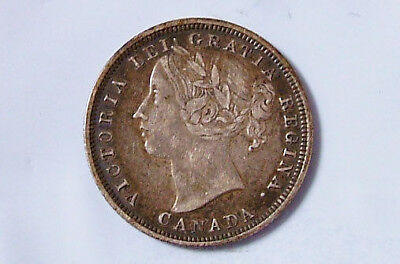1858 XF Canadian 20 Cents Sterling Silver Canada Twenty Cent Coin