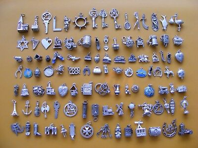 A1 Vintage Sterling Silver Charm Charms Tennis Sword Fish Harp Shoe Clock Key 21