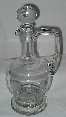 VINTAGE ? SHIPS DECANTER   Etched flowers leaves BEAUTIFUL Free Shipping