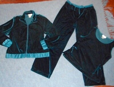 Coldwater Creek Emerald Green Velvet 3 Pc Outfit L Jacket Pull On Pant+Shell Top
