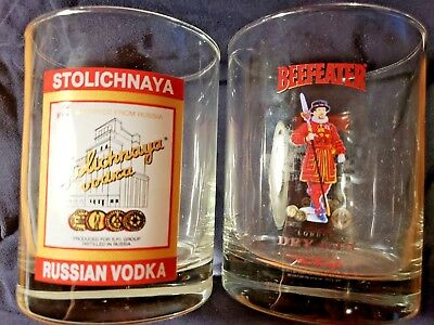 Beefeater London Dry Gin & Stolichnaya Russia Vodka Set of 2 Glass Tumblers Mint