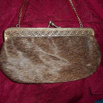 VINTAGE HAND BAG PURSE SOME KIND OF HAIR / FUR w/CUT OUT METAL FRAME