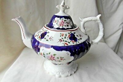 Antique Large Gaudy Welsh Pearlware Teapot Circa 1850s