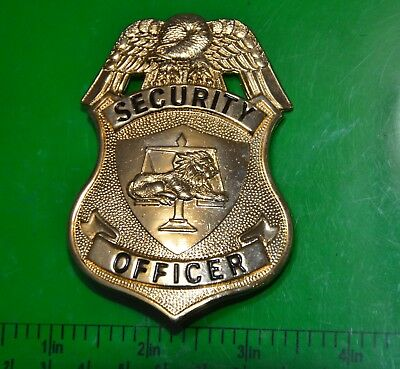 New Security Officer Badge Gold Flying Eagle Real Metal Made In Usa
