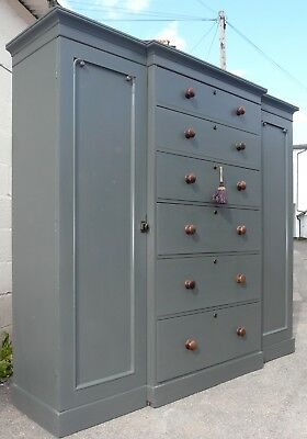 Very Nice Painted Victorian Compactum Wardrobe with Key