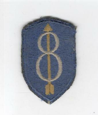 British Made WW 2 US Army 8th Infantry Division Silk Blackback Patch Inv# C783