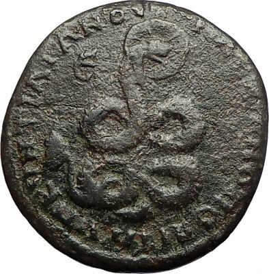 CARACALLA & JULIA DOMNA 198AD Ancient Marcianopolis Roman Coin w SERPENT i71260