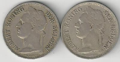 xx From Accumulation - 2 OLDER 1 FRANC COINS..BELGIAN CONGO..1928 & 1929