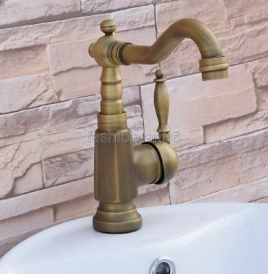 Antique Brass Bathroom / Kitchen Sink Faucet Swivel Mixer Tap - One Hole fnf249