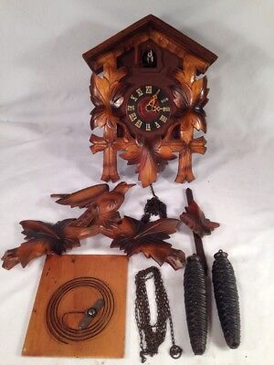 VINTAGE GERMAN BLACK FOREST REGULAR WOODEN CUCKOO WALL CLOCK For PARTS or REPAIR